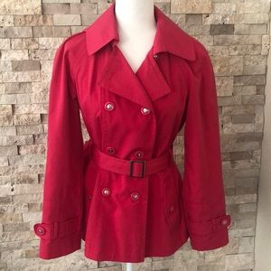 New! Gallery Hot Pink Button Down Trench Coat